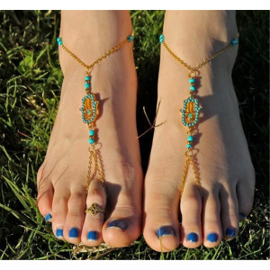 B-0755 Ethnic Summer Anklet Boho Beads Anklets Foot Gold Chain Crystal Hamsa Beach Jewelry Girl
