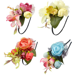 F-0338 4 Colors Floral Hoop Handmade Hairband Ribbon Flowers Leaf Headbands For Women Wedding  Hair Accessories