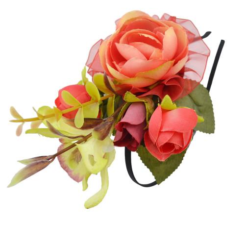 F-0338 4 Colors Floral Hoop Handmade Hairband Ribbon Flowers Leaf Headbands For Women Wedding  Hair Accessories