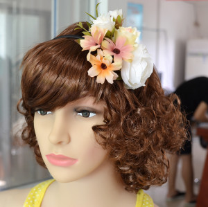 F-0337 3 Colors Floral Hoop Handmade Hairband Ribbon Flowers Leaf Headbands For Women Wedding  Hair Accessories