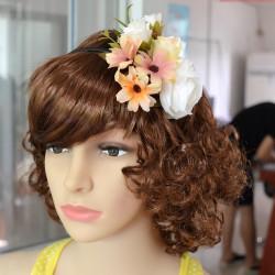 F-0337 3 Colors Floral Hoop Handmade Hairband Ribbon Flowers Leaf Headbands For Women Wedding  Hair Accessories