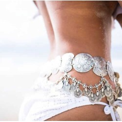N-5642 Vintage Style Turkish Gypsy Silver Plated Alloy Coin Belly Body Chain Waist Women Jewelry