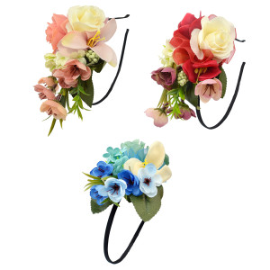 F-0348  3 Colors Floral Hoop Handmade Silk Ribbon Hairband Artificial Flowers Leaf Head Band For Women Wedding Hair Accessories