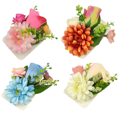 P-0330 Fabric Flower Pectoral Brooch Pins Corsage Hairpin Hair Barrettes for Women Dual Use 4 Colors