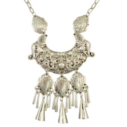 N-6302 Bohomian Fashion style Silver plated fash shape Tassel moon butterfly shape pendant & Necklace for Women Jewelry