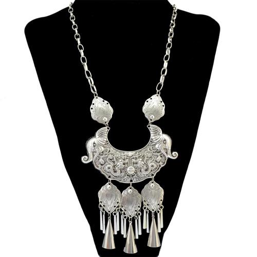 N-6302 Bohomian Fashion style Silver plated fash shape Tassel moon butterfly shape pendant & Necklace for Women Jewelry