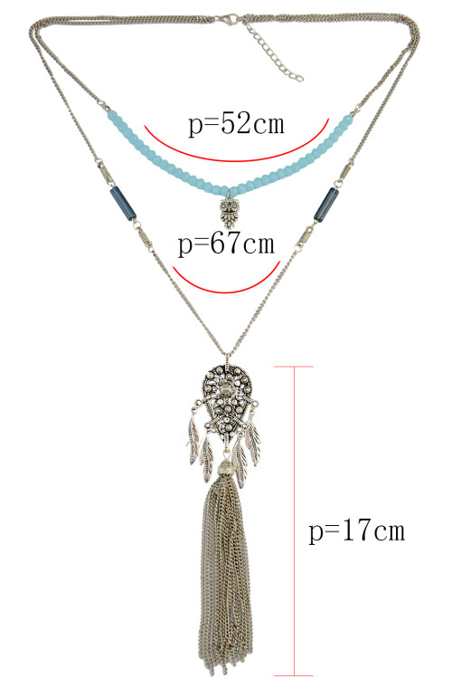 N-6299 Bohemian Multilayers Silver Chain Beaded Necklace Leaves Long Tassel Penndant Necklace