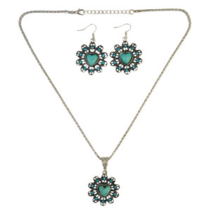 N-6306 Bohemian Fashion Silver plated Necklace Heart shape Rhinestone Natural Turquoise Bead Long Necklaces Earrings For Women Jewelry Set