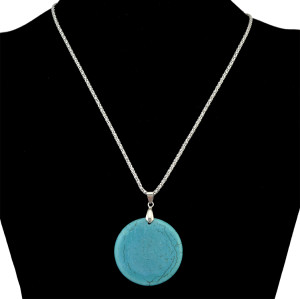 N-6304 Boho Vintage Silver Chain Big Pendant Round Natural Turquoise Necklace for Women Simple Style
