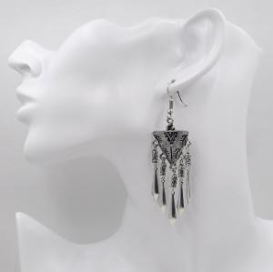 E-3817 2016 Unique Design Tibetan Silver Plated Alloy Triangle Shape Arrowhead  Tassel Dangle Drop Hook Long Earrings For Women Girls Jewelry