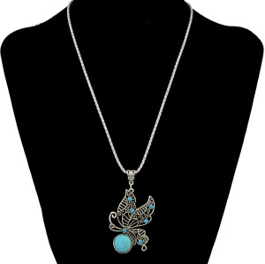 N-6303 Bohemian Retro Silver Chain Butterfly Necklaces Inlay Rhine Stone Natural Turquoise Bead Long Necklace Women Jewelry
