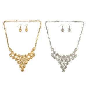 N-6313 Silver & Gold Alloy Fashion Choker Statement Necklace Earrings Set For Women Jewelry