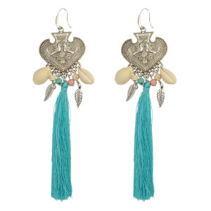 E-3824 Generous Big Long Drop Earrings Beaded Silver Natural Shell Tassel Heart Carved Peacock Leaf Fish Hook Earring