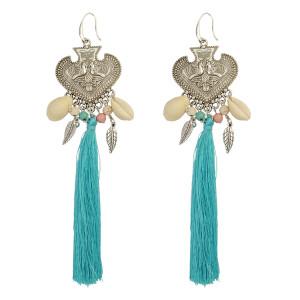 E-3824 Generous Big Long Drop Earrings Beaded Silver Natural Shell Tassel Heart Carved Peacock Leaf Fish Hook Earring