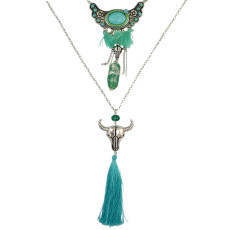 N-6315 Bohemian Multilayers Chain Beaded Natural Turquoise bull shape  pendant long green cloth Tassel Necklaces Women Jewelry