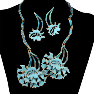 N-6318 Statement Necklaces Choker Flower Necklace + Earring Set Wedding Jewelry for Bridal 4 Colors