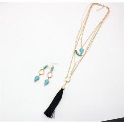 N-6319 Bohemian Multilayers Chain Pendant Long Tassel Turquoise Rhinestone 4 Layers Necklace Earring Drop Dangle Earrings Jewelry Set