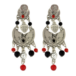 E-3825 New Arrival bohemian vintage gold & silver plated colorful pearls bird shape Dangling Earrings for women jewelry