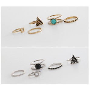 R-1372 5Pcs/set European Fashion Gold Silver Midi Finger Ring Resin Bead Nail Kncukle Rings For Women Set jewelry