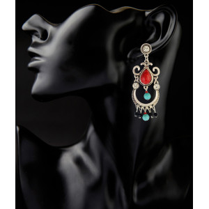 E-3821 bohemian vintage silver plated turquoise beads drop shape Dangle Earrings for women jewelry