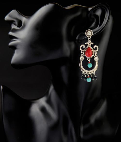 E-3821 bohemian vintage silver plated turquoise beads drop shape Dangle Earrings for women jewelry