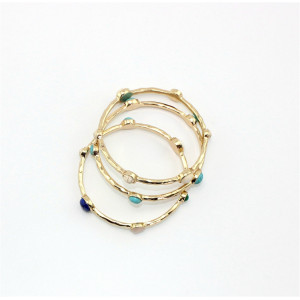 B-0763 Fashion Gold Plated Cuff Bangle Natural Stone Bracelet 3 Colors