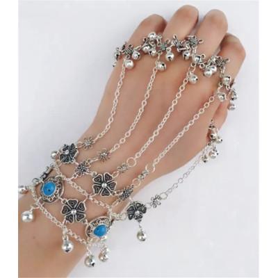B-0761 Bohemian Silver Blue Resin Bead Bracelets & Bangles Antalya Gypsy Turkish Hollow Out Flower Bells Tribal Ethnic Bracelet Women Jewelry