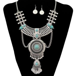 N-6320 Vintage Silver Gold Plated Turquoise Beads Crystal Rhinestone Hoolow out Pendant Necklace Earring set for Women Jewlery