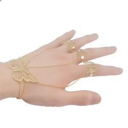 B-0766   Korea Silver Gold Tassel Bracelets & Bangles Antalya Gypsy Turkish Hollow Out Butterfly Bracelet Women Jewelry