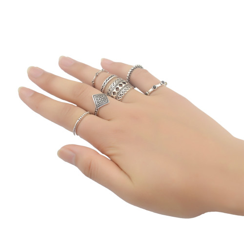 R-1370 7Pcs/set Bohemian Fashion Bronze&Silver plated  Finger Ring Resin Bead Kncukle Rings For Women  Jewelry