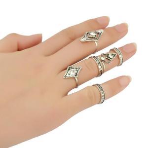 R-1380 Bohemian Gypsy Vintage Silver Joint Knuckle Nail Midi Ring Loop Diamond Rhinestone Ring Set of 6 Rings 3 Colors