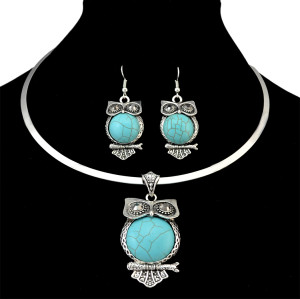 N-6333 Bohemian Silver Fashion Necklaces Inlay Natural Turquoise Owl Shape Pendant Necklace Earrings For Women Jewelry Set