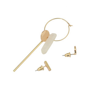 E-3839 New Fashion Unisex Punk Knotted Gold Plated Stud Earring