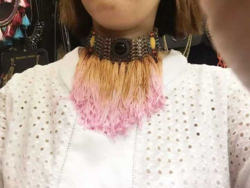 N-6317 Bohemian Fashion Silver Chain Long Black Pink Rope Tassels Inlay Resin Beads Necklace Women Lady Jewelry