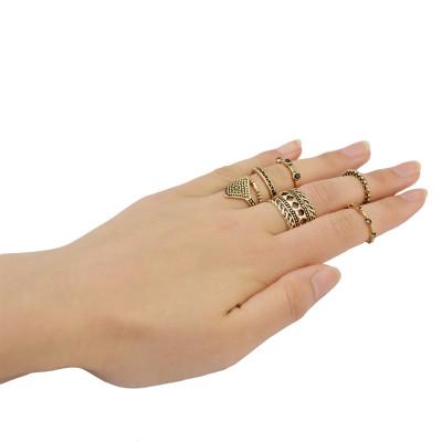 R-1378 7pcs/set Bohemian Gypsy Vintage Silver plated  Knuckle style Midi Rings  Rhinestone Ring Set