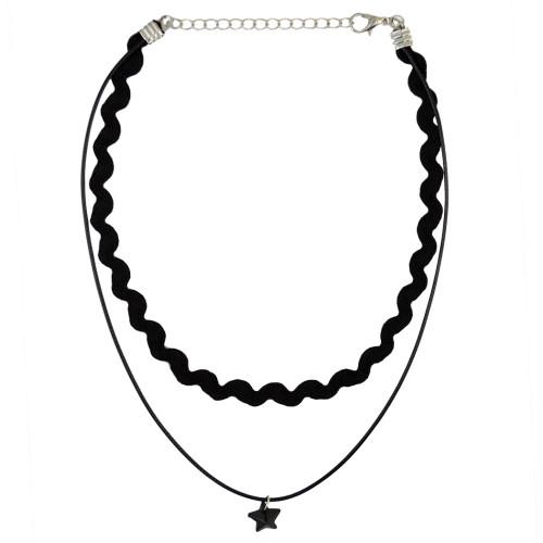 N-6329 Fashion Black Leather Nylon Rope Statement Choker Necklace