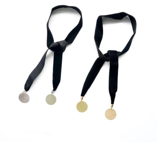 N-6332 New Fashion European Black Rope Chain Choker Gold Silver Metal Sheet Necklace Women Girls Jewelry