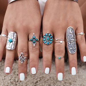 R-1384 Boho Vintage Gypsy Silver Joint Knuckle Nail Midi Finger  Ring Turquoise Ring Set of 9 Rings