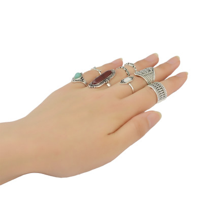 R-1385 bohemian Vintage style Gypsy Silver & gold plated Joint Knuckle Nail Midi Finger  Ring Turquoise Ring Set of 8 Rings