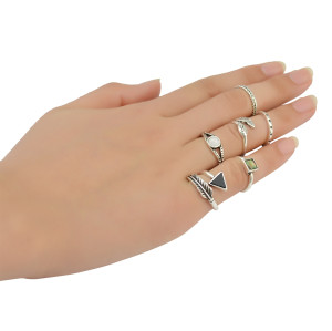 R-1383 bohemian Vintage style Gypsy Silver  plated Knuckle Nail Midi Finger  Ring black Turquoise Ring Set of 6 Rings