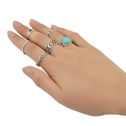R-1382 6Pcs/set Bohemian Turkish Silver Alloy Natural Turquoise Finger Nail Midi Rings  Hollow out  Knuckle Rings For Women Jewelry