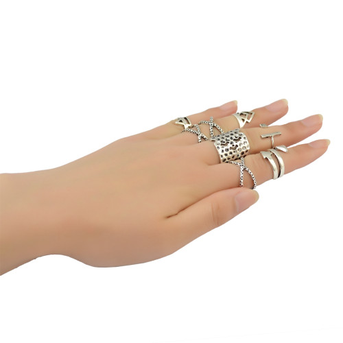 R-1381 Fashion Ring Vintage Silver Gypsy Joint Knuckle Nail Midi Finger Ring Set of 8 Rings