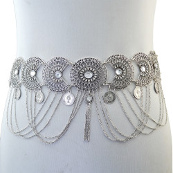 N-6340 Vintage Silver /Bronze Waist Chian Hollow out Carving Crystal Body Chain Summer Beach Body Waist Chain Jewelry