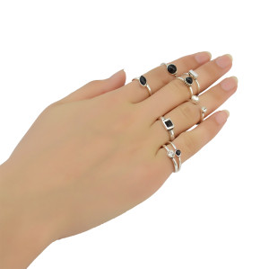 R-1388 8 Pcs/set Resin Stone Rhinestone Ring Silver Plated Gypsy Joint Knuckle Nail Midi Finger Ring