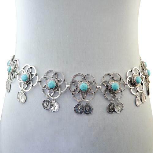 N-6337 Bohemian Fashion Women Silver Plated Chain Biniki waist belly Turquoise  Beach Waist  Body Chain