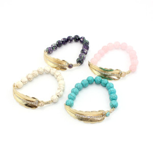B-0773 bohemian Fashion style Gold Plated leaf shape wit crystal Bracelet  Turquoise Beads Bangle Bracelet Jewelry for Girl&Women