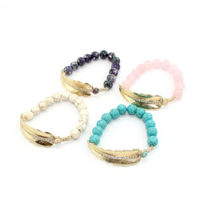 B-0773 bohemian Fashion style Gold Plated leaf shape wit crystal Bracelet  Turquoise Beads Bangle Bracelet Jewelry for Girl&Women