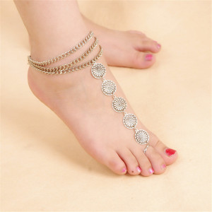 B-0770 New Fashion Summer Anklet Boho Beads Anklets Foot Gold Chain Crystal Hamsa Beach Jewelry Girl