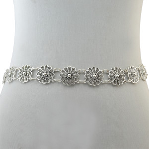 N-6350 bohemian vintage style  body chain  silver plated  flower and sun shape pendant necklace belt chain women jewelry