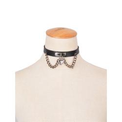 N-6345 Women Fashion black Leather Heart Shape Pendant Statement Choker Necklace
